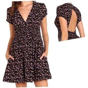 Free People Black Floral Cutout Back Dress XS